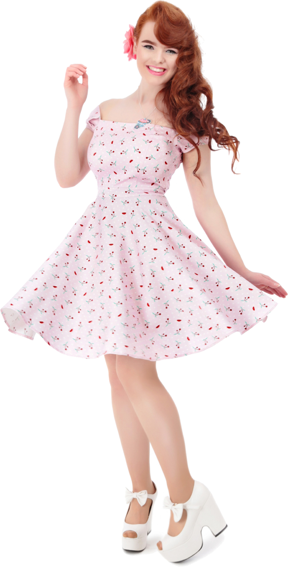 collectif ramona cherry kirschen vintage polka dots dress kleid rosa rockabilly ebay. Black Bedroom Furniture Sets. Home Design Ideas
