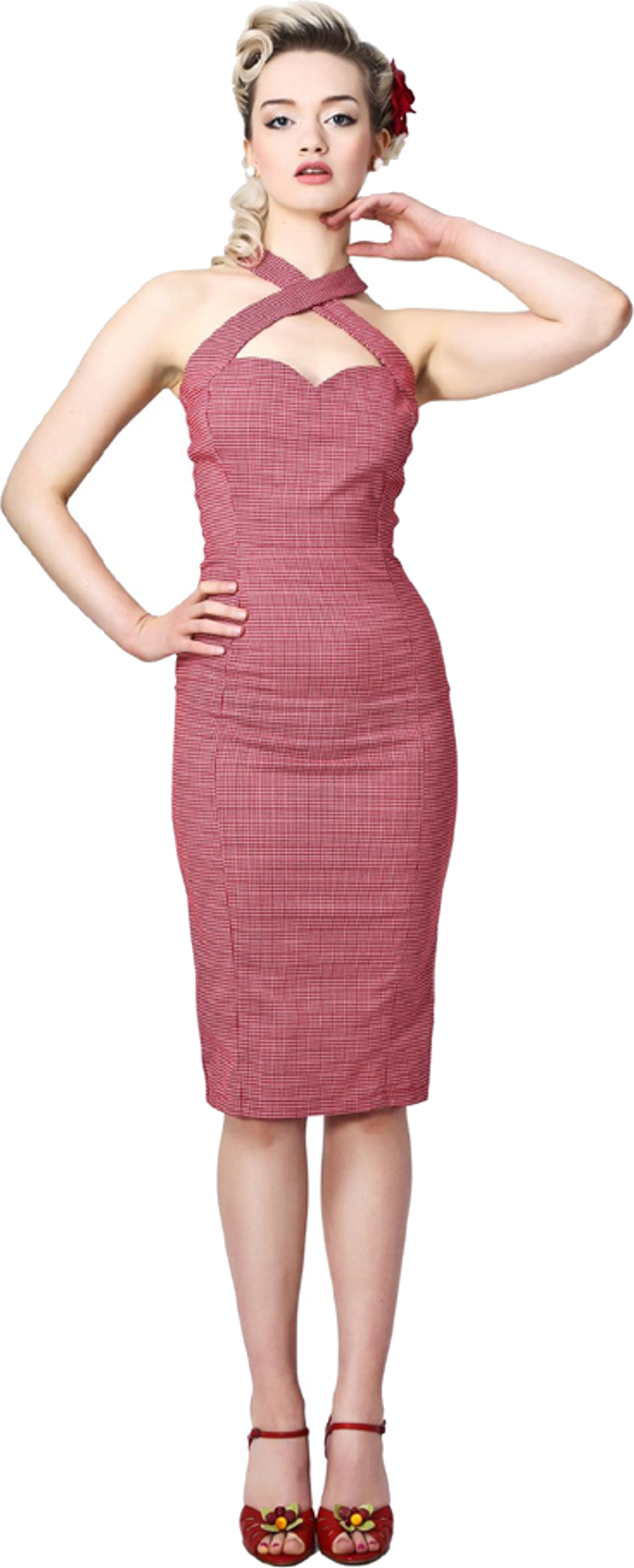 ce4d6789f149 Collectif PENNY Gingham 50s Vintage PENCIL DRESS / Kleid - Rot ...