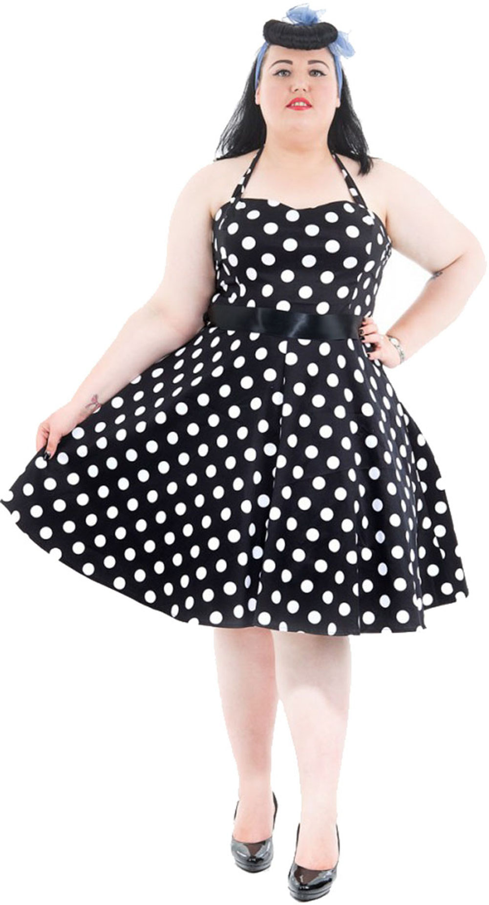 Hearts & Roses POLKA DOTS 50s Petticoat NECKHOLDER Kleid - PLUS SIZE ...
