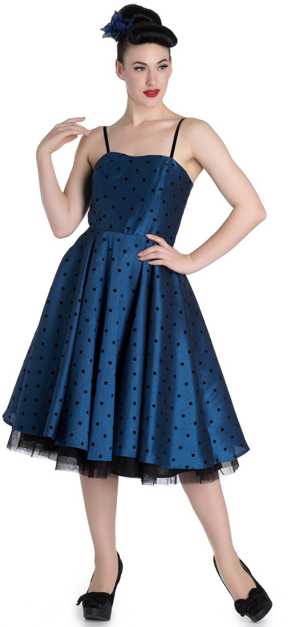 Hell Bunny ISABELLA Prom Polka Dots Punkte Vintage Swing KLEID Blau ...