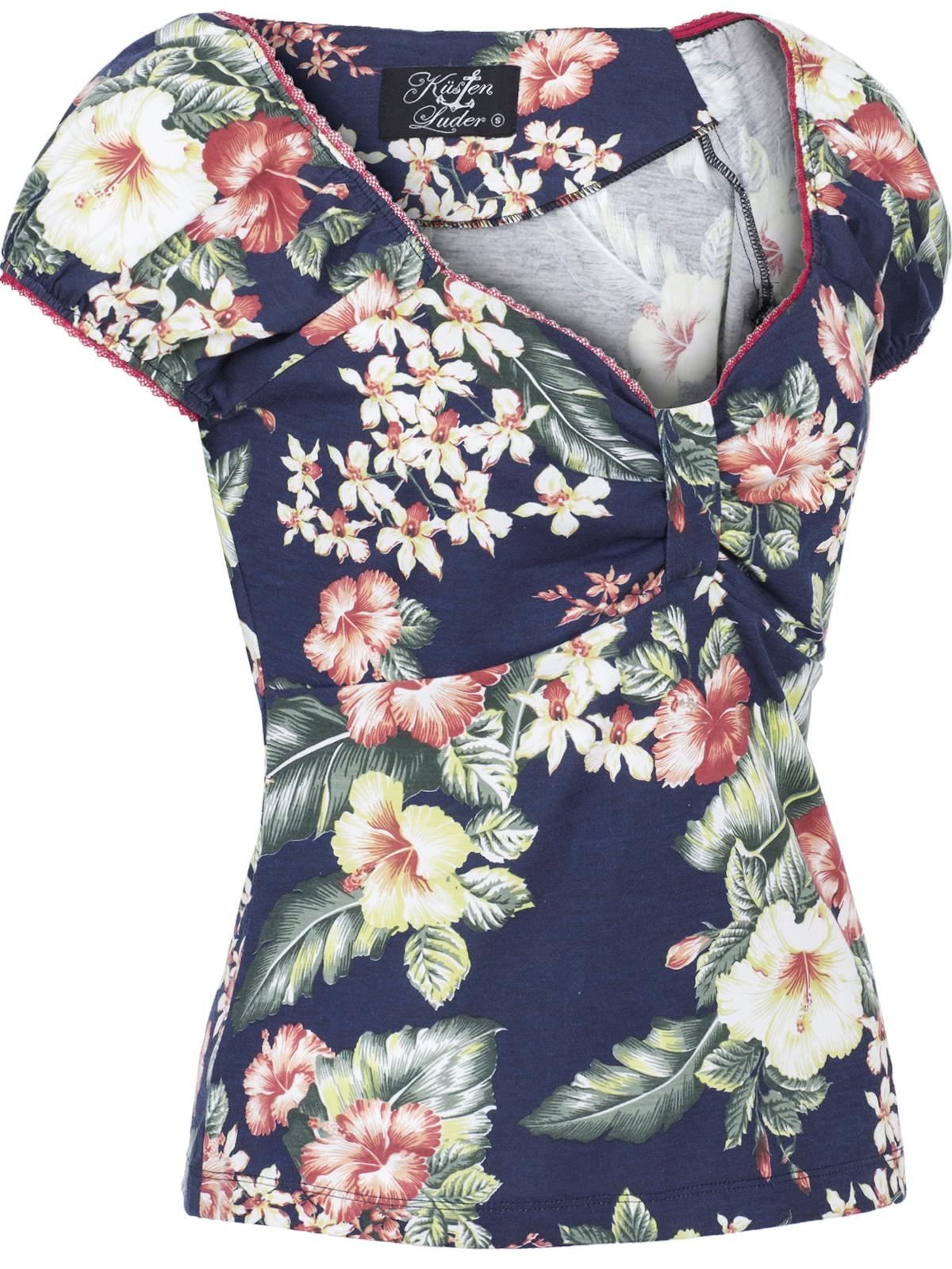 Küstenluder TOSSKA Vintage TROPICAL Hibiskus Flower Shirt OBERTEIL Rockabilly