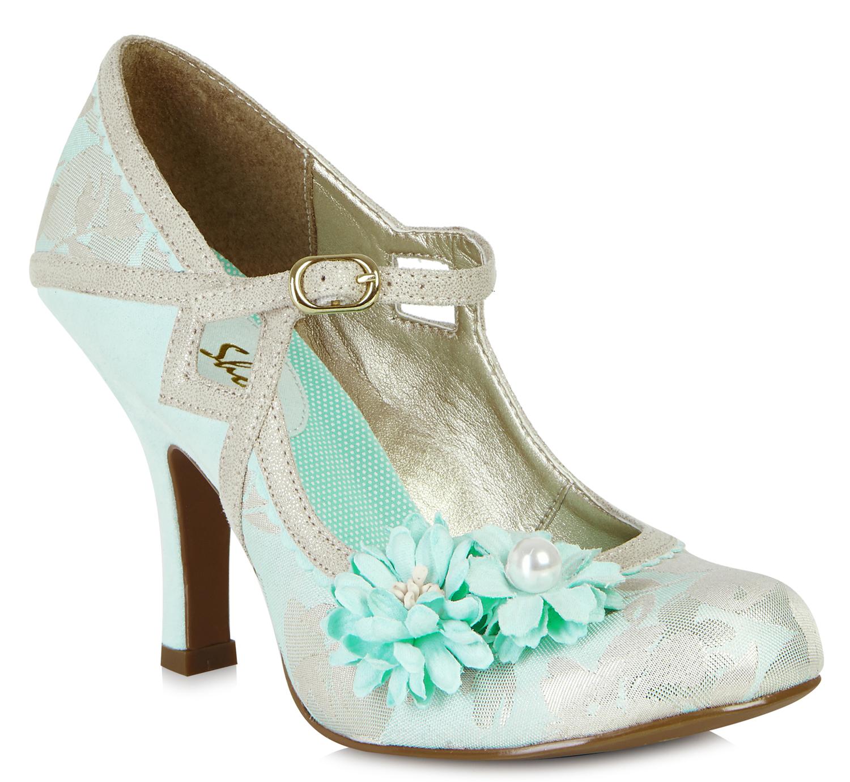shoo yasmin vintage flower pearl riemchen pumps high heels rockabilly. Black Bedroom Furniture Sets. Home Design Ideas