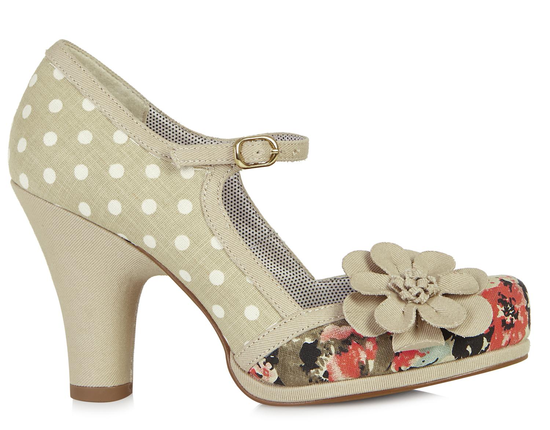 vintage polka dots floral riemchen pumps high heels rockabilly ebay. Black Bedroom Furniture Sets. Home Design Ideas