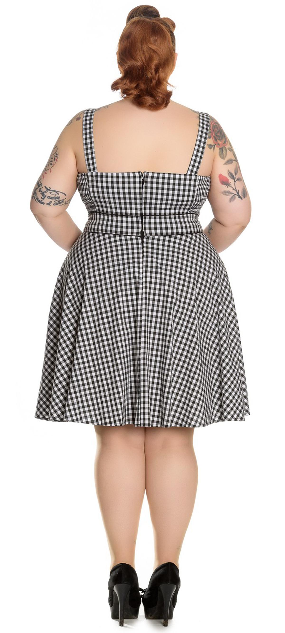 hell bunny bridget kurzarm pepita gingham 50s kleid dress plus size rockabilly. Black Bedroom Furniture Sets. Home Design Ideas