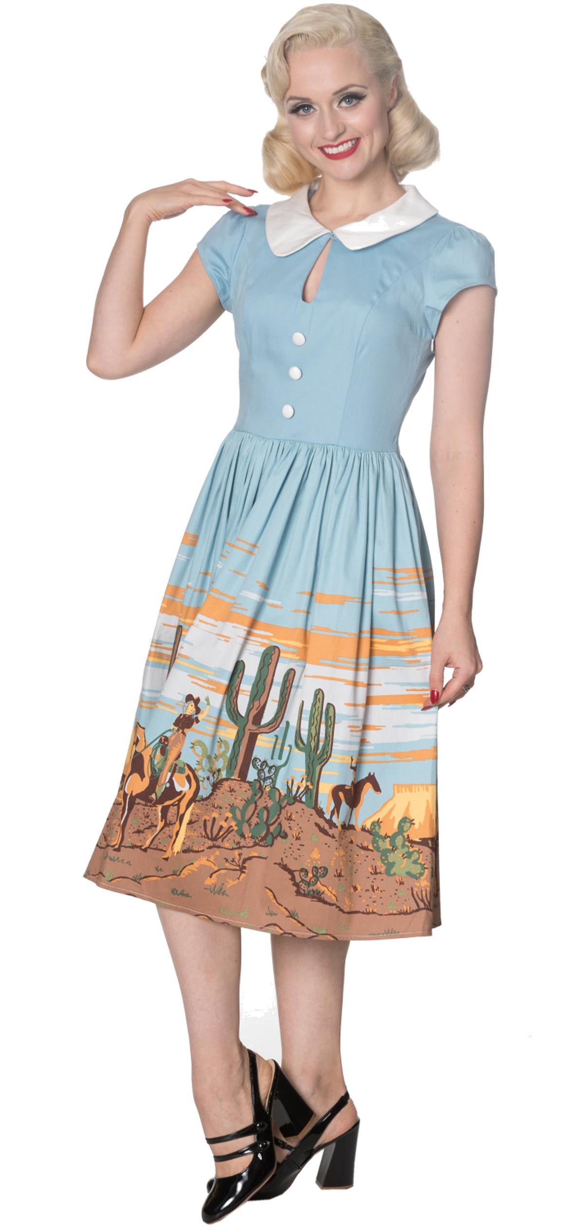 Dancing Days MAGICAL Western Cowboy Vintage Retro DRESS ...