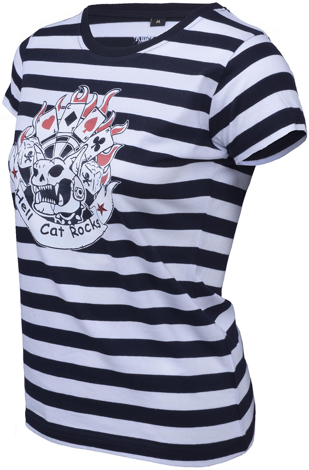 Killer Kirsche Striped gestreift HELL CAT ROCKS Motiv Shirt Rockabilly