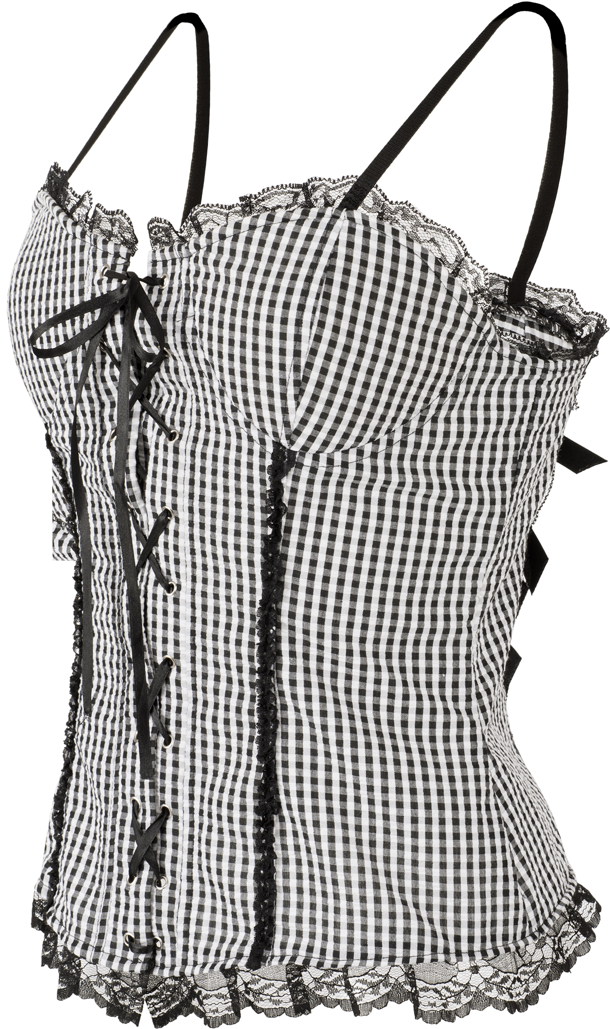 Vintage MAHARA Check PEPITA Gingham LACE UP Spitze CORSAGE TOP Rockabilly
